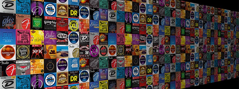 Massive wall of guitar string labels