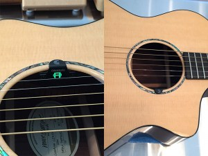 When the NS Micro Soundhole tuner is in place, it's nearly invisible to the audience.