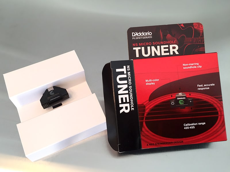 D'Addario NS Micro Soundhole Tuner Inside the Box