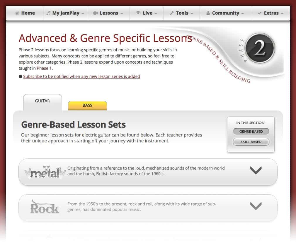 Choosing a genre is just one of the ways you can learn with JamPlay