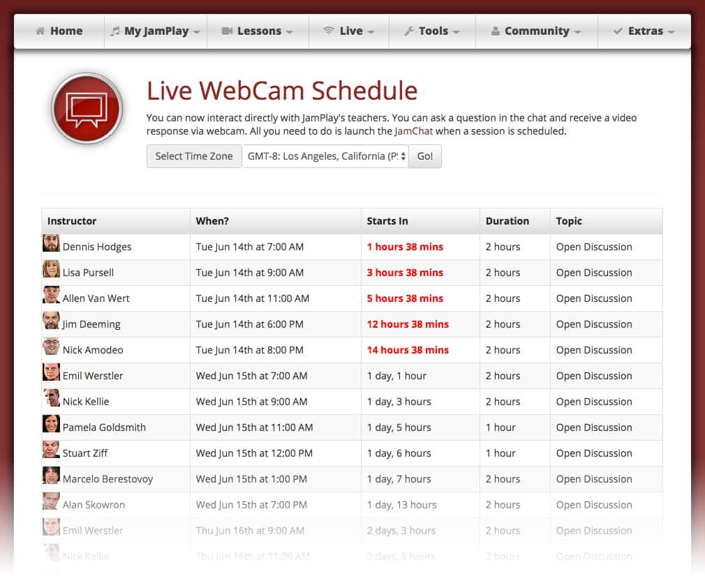 Tune in to to live streaming courses and workshops where you can interact with the instructors