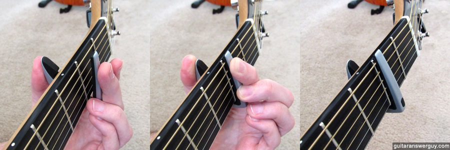 Clamping the G7th Performance 2 capo from underneath