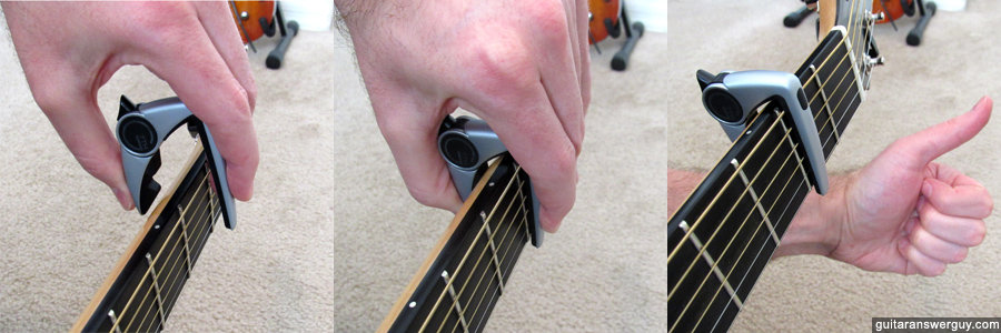 Clamping the G7th Performance 2 capo from the top