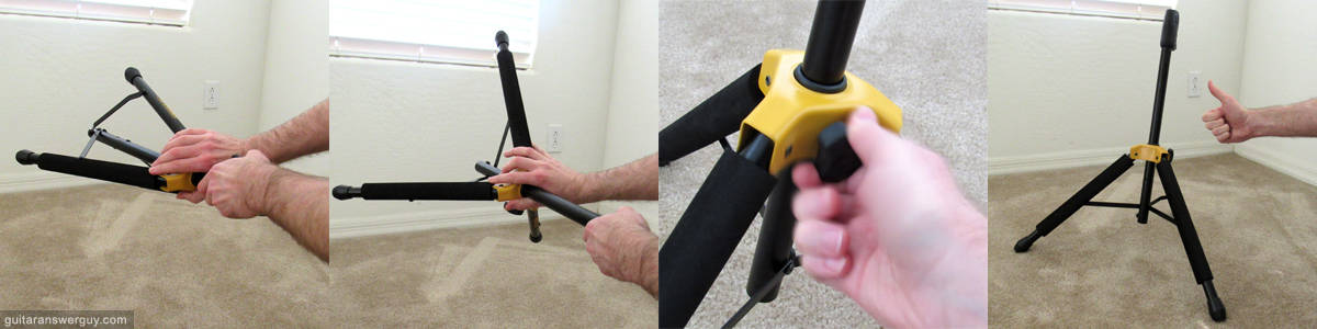 Slide the yellow part down to deploy the legs, then tighten the screw to lock 'em in place