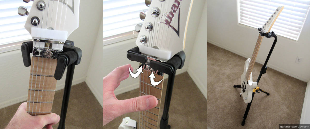 Putting a guitar into the Hercules stand