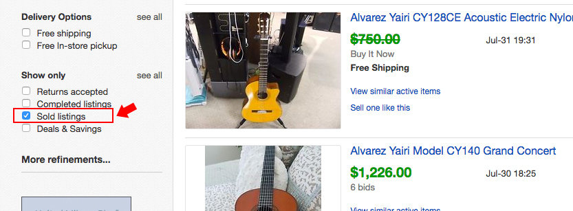 Ebay's filtering options for completed listings