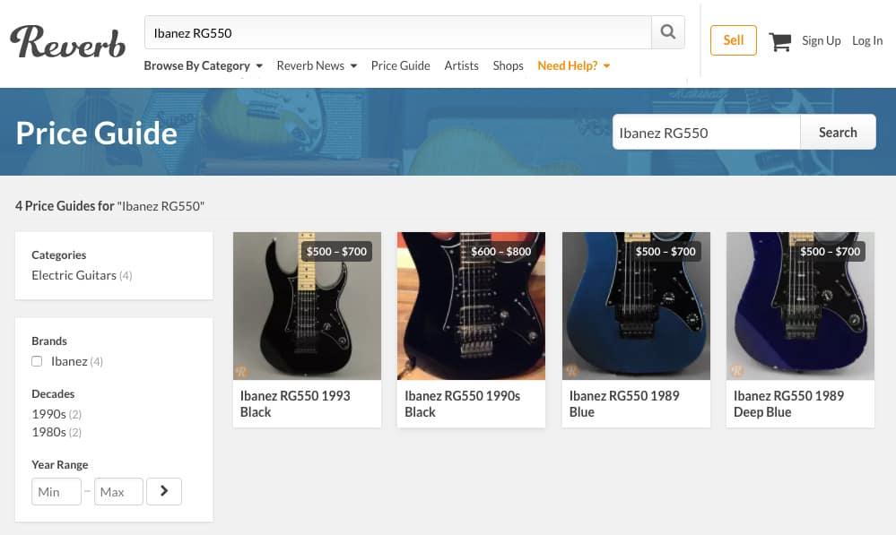 Reverb.com's online price database