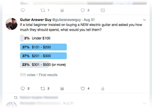 $300 seems to be a reasonable max budget for a beginner electric guitar