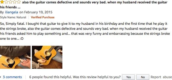 A negative guitar review on Amazon.com