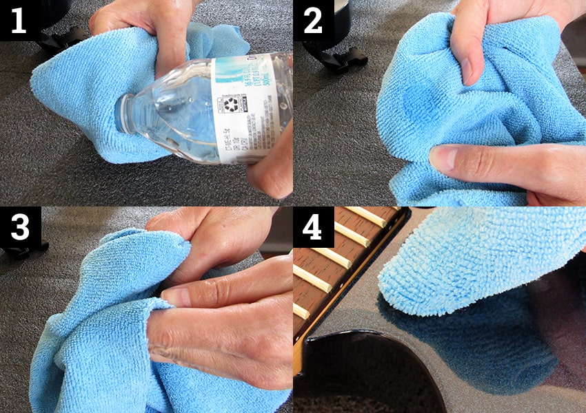 A cloth just slightly damp with water will remove most stuff from a guitar's finish