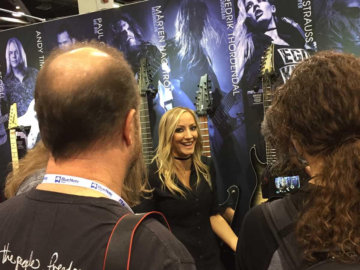 Nita Strauss at the Ibanez booth at NAMM 2018
