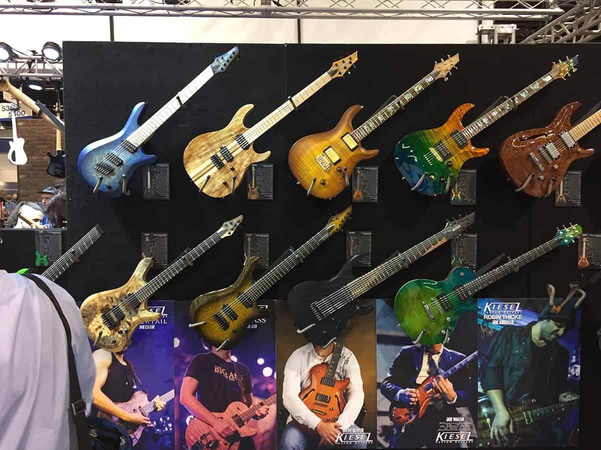 Display Wall of Kiesel Guitars at NAMM 2018