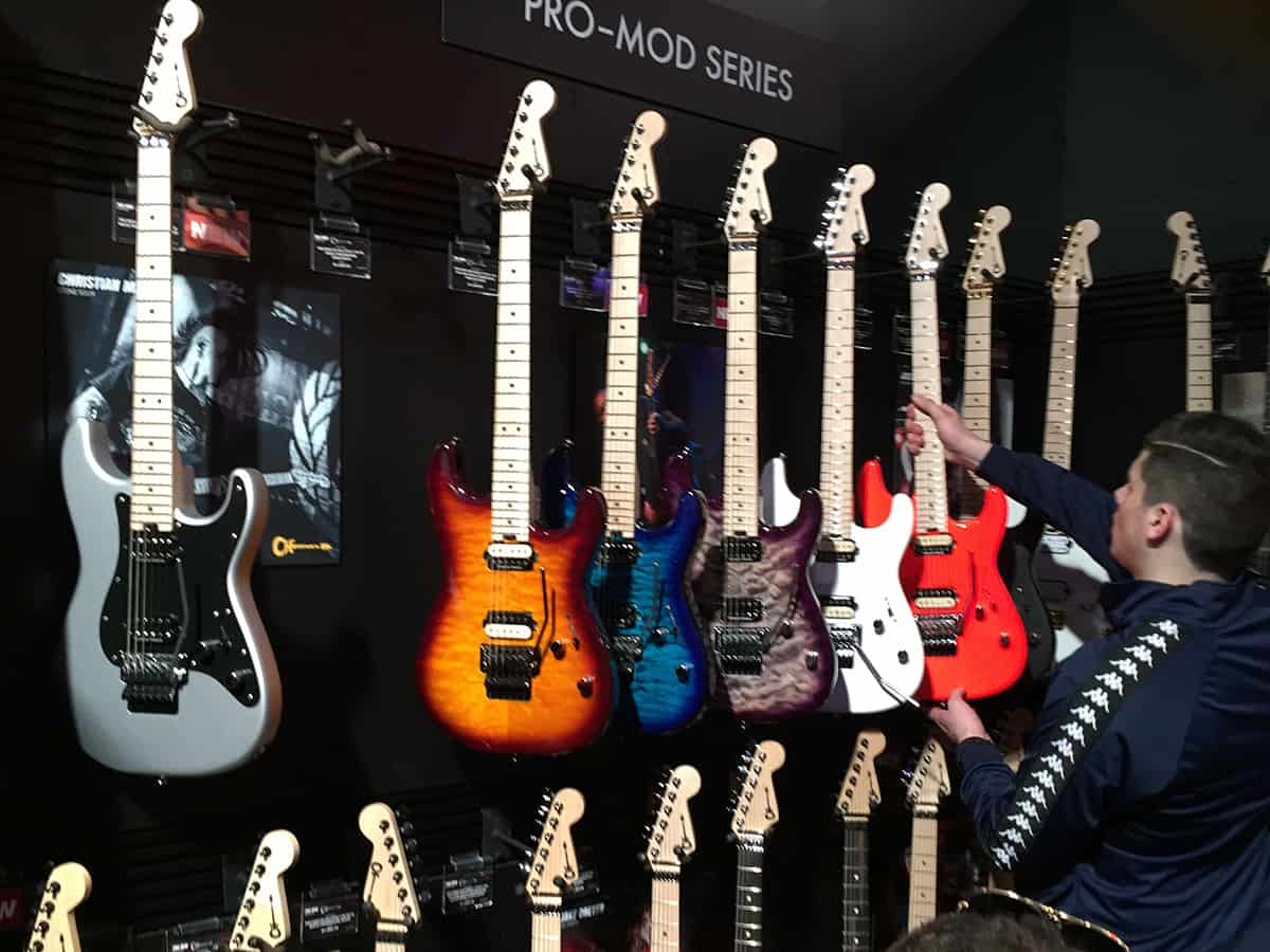 Some sweet Charvel guitars on the wall at NAMM 2018