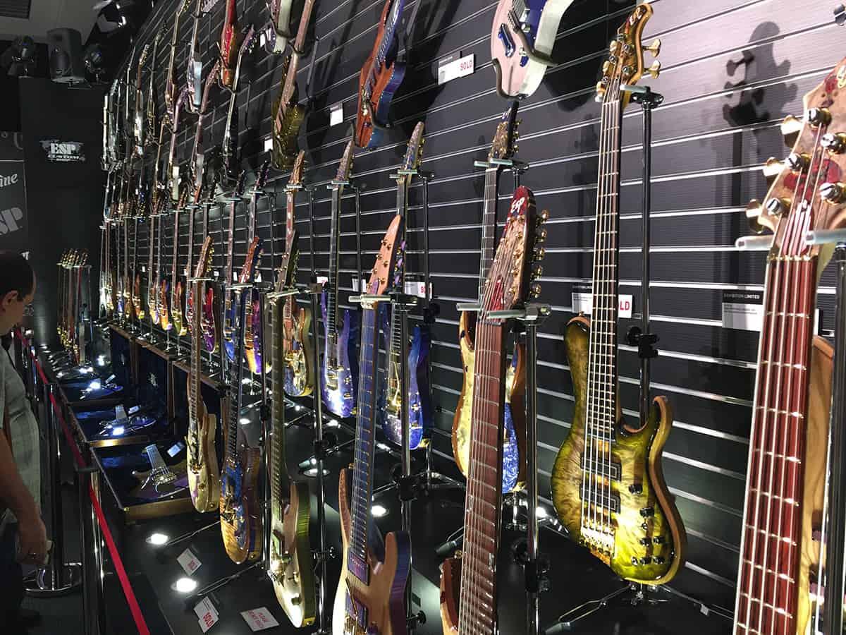 Wall of ESP Custom Shop Guitars at NAMM 2018