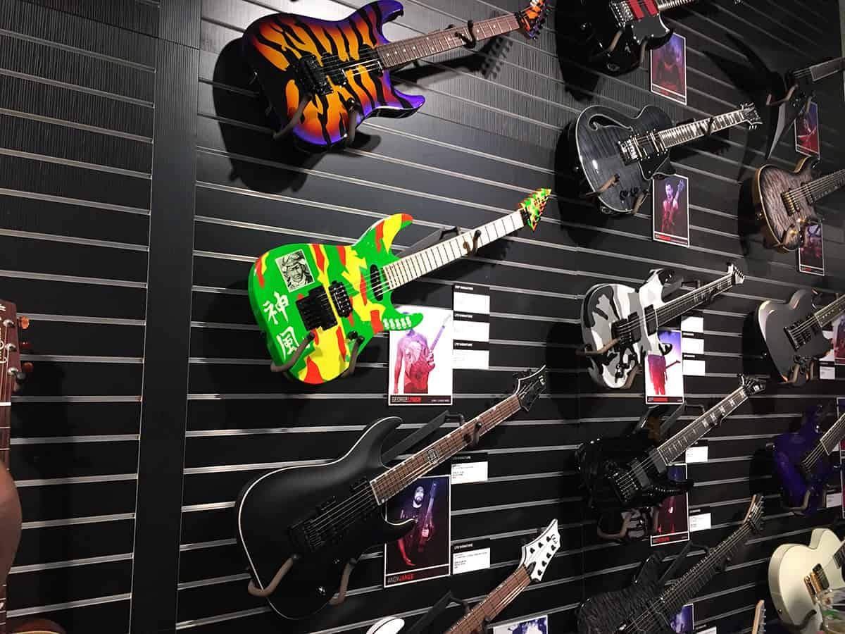 Wall of ESP guitars at NAMM 2018