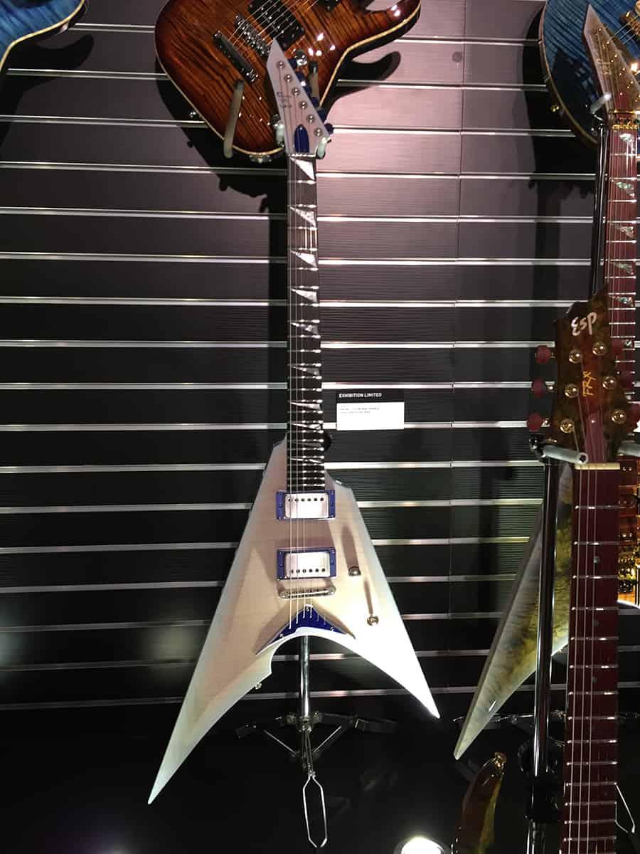 Transparent white, flame maple ESP Custom Shop guitar at NAMM 2018