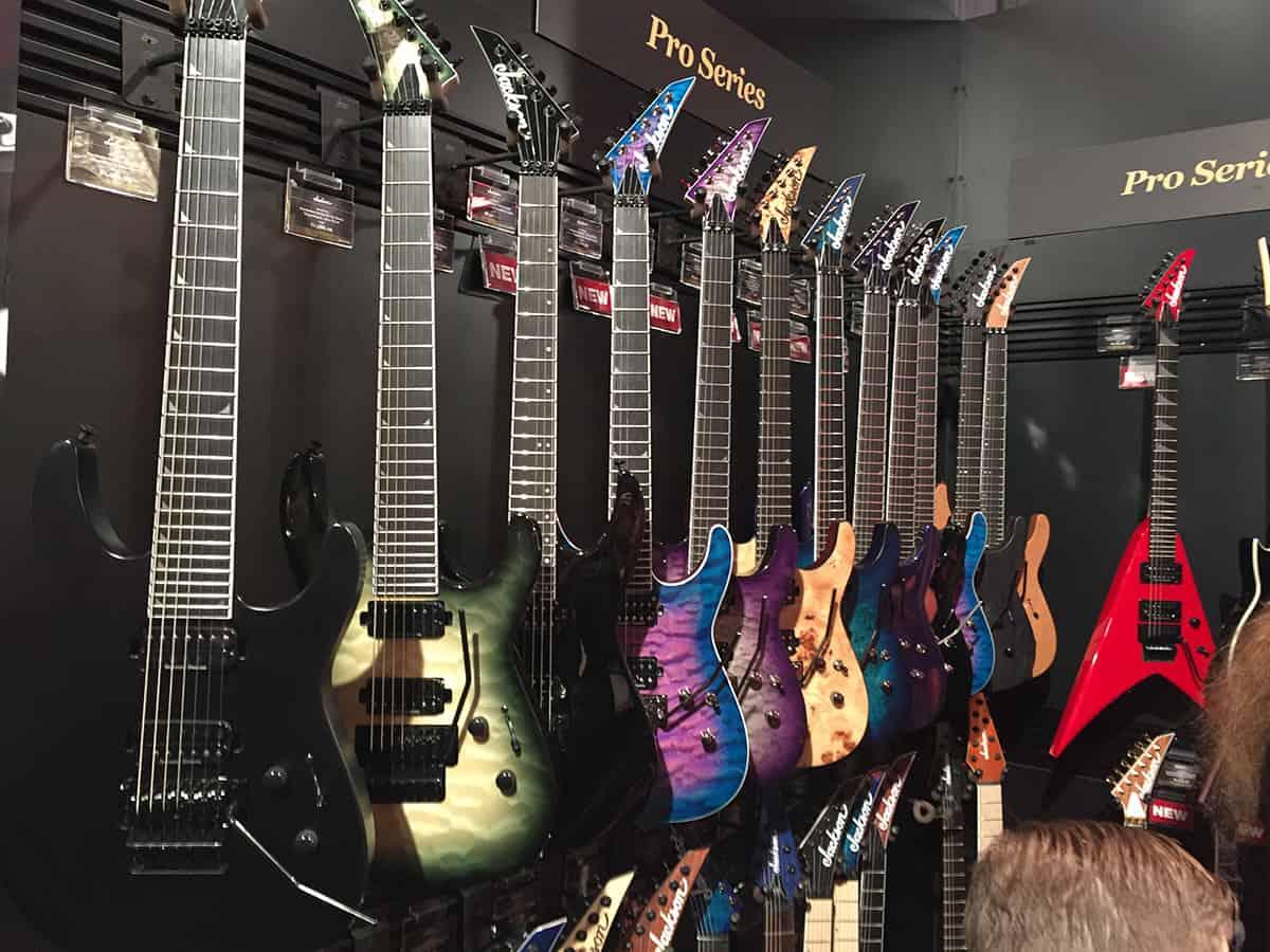 Wall of Jackson Guitars at NAMM 2018