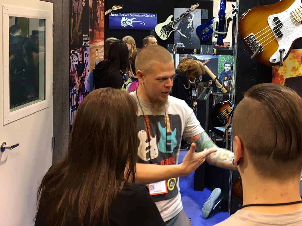 Jeff Kiesel talking to us at the Kiesel booth at NAMM 2018