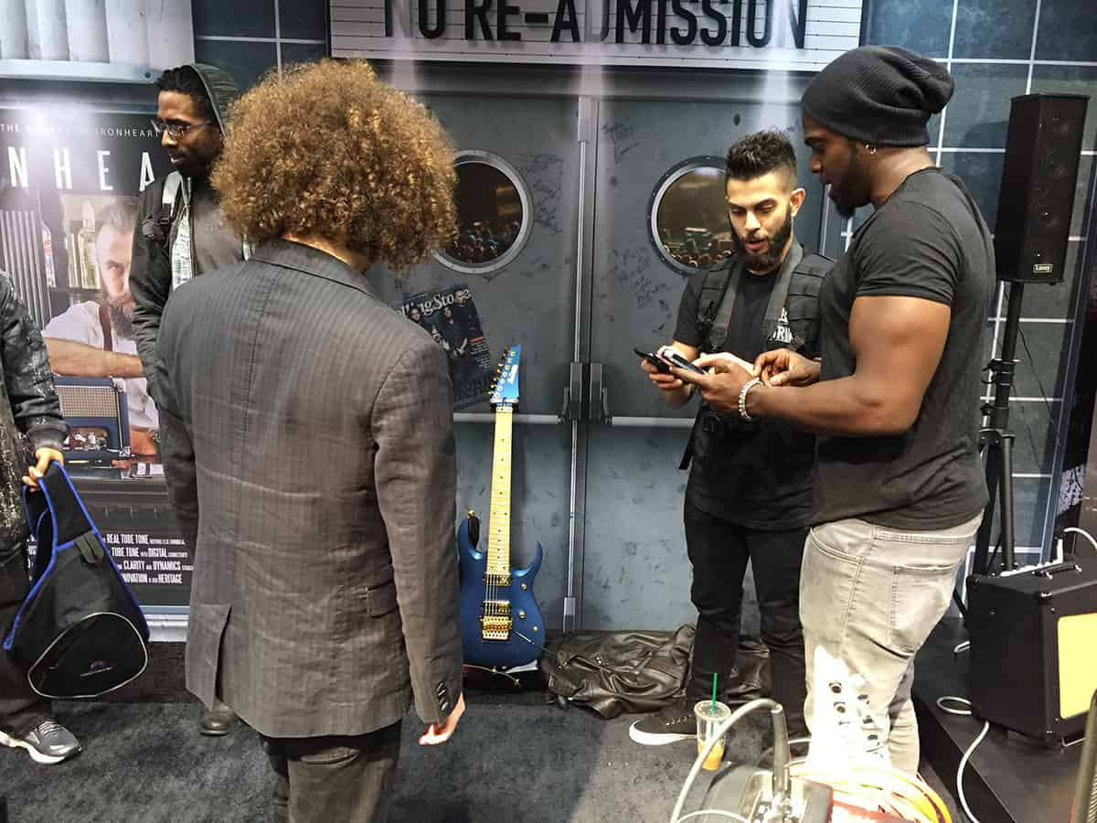 Guitarist Al Joseph at the Laney Amps booth at NAMM 2018