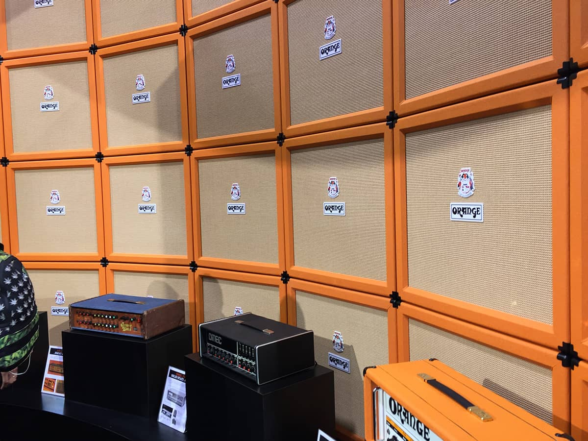 Wall of Orange Amps cabinets at NAMM 2018