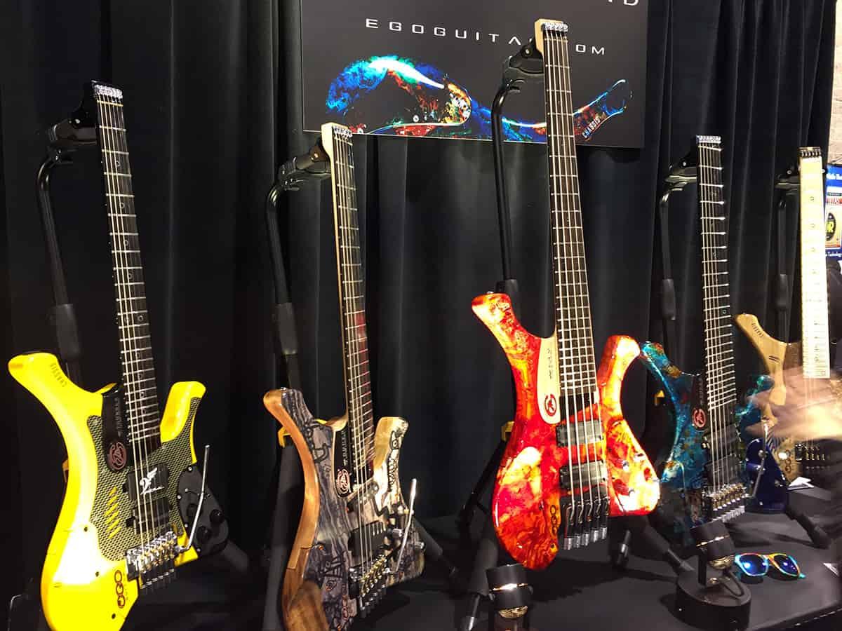 Botique guitars on display at NAMM 2018
