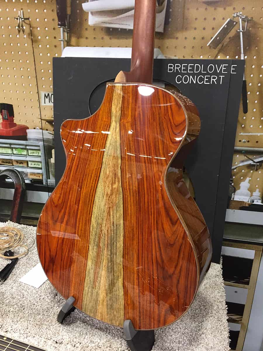 Beautiful figured back on this Breedlove acoustic guitar at NAMM 2018