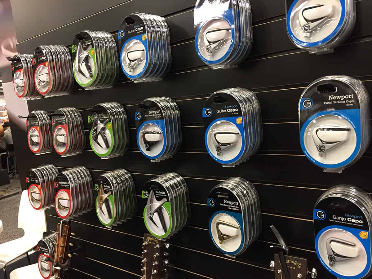 Wall of G7th capos at NAMM 2018