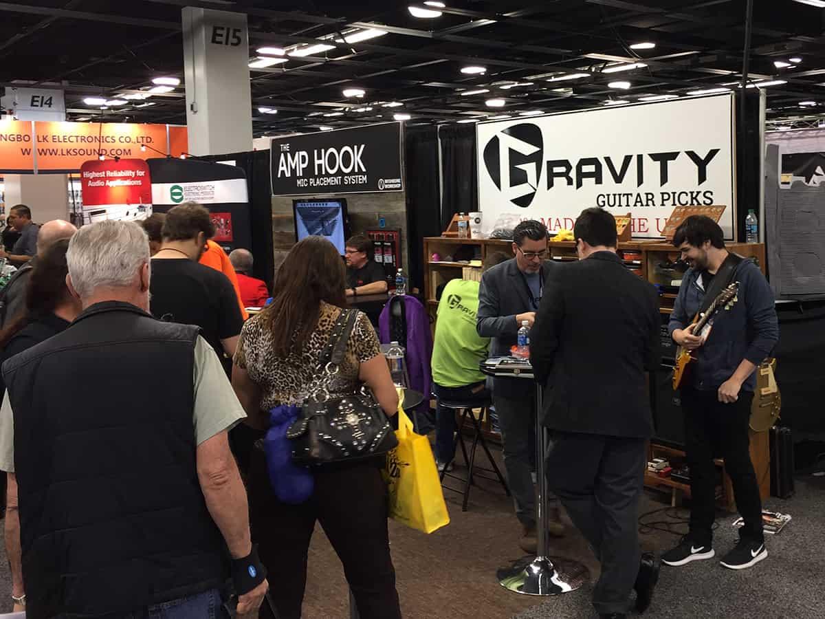 Gravity Guitar Picks booth at NAMM 2018