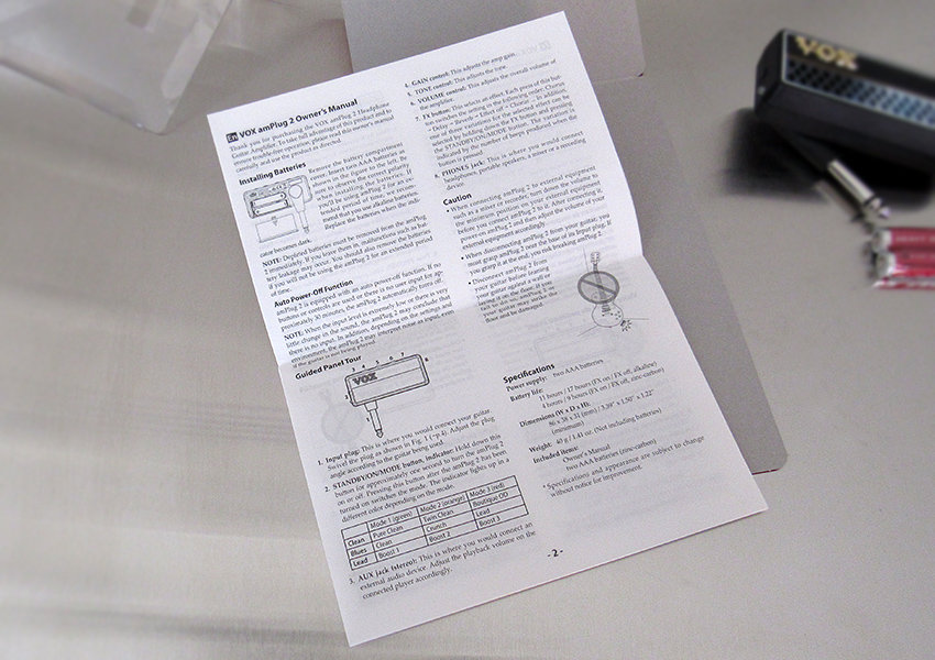 VOX amPlug 2 Lead instruction manual