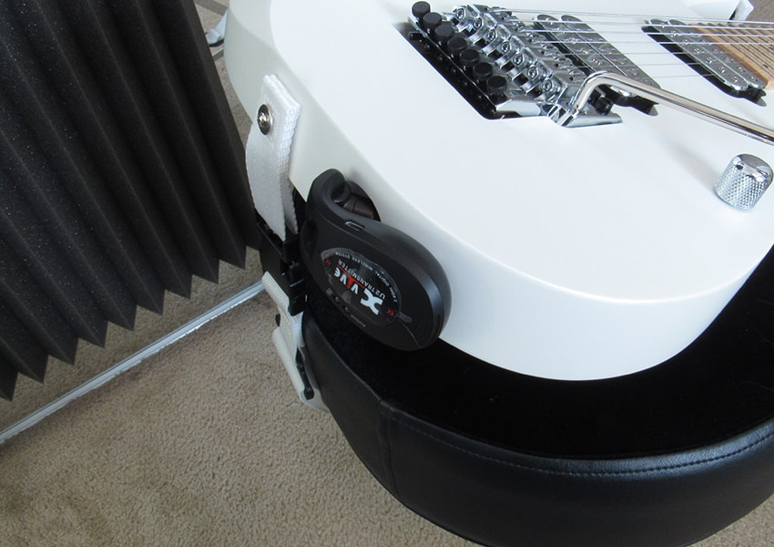 """The Xvive transmitter plugged into an Ibanez """"Jem style"""" guitar jack"""