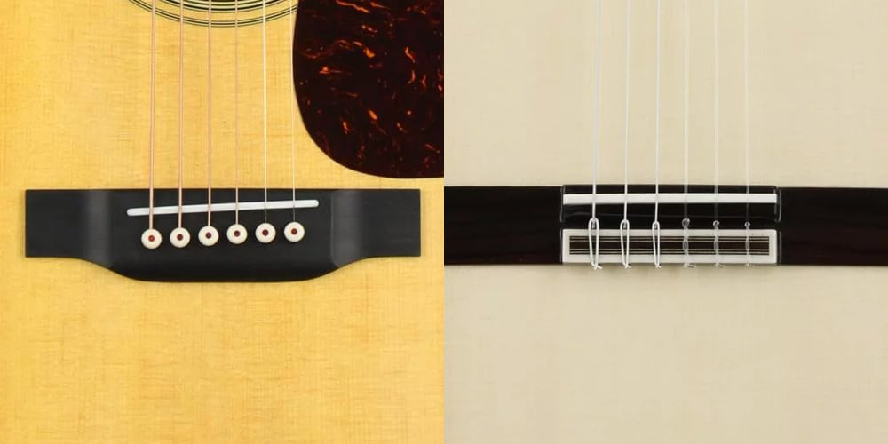 A steel-string acoustic guitar bridge and a Classical guitar bridge