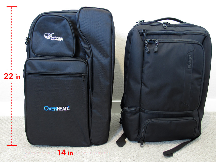 The OF420 gig bag shown next to my larger-than-average backpack