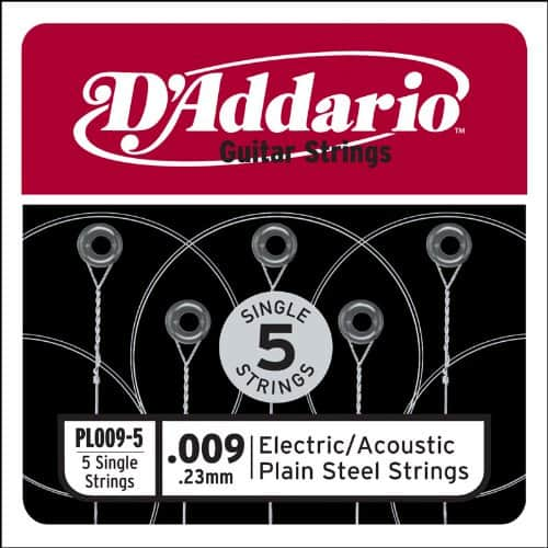 D'Addario .009 Single Guitar Strings (5 pack)