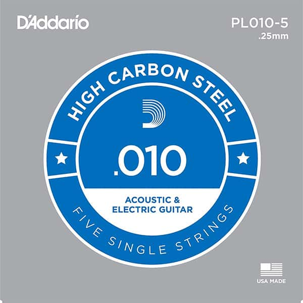 D'Addario .010 Single Guitar Strings (5 pack)