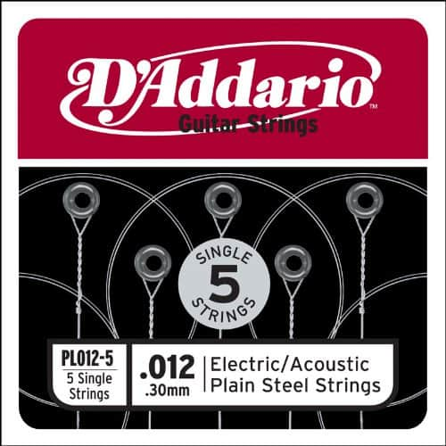 D'Addario .012 single acoustic/electric guitar strings (5-pack)