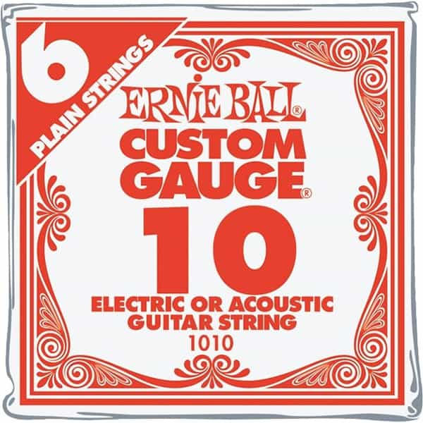 Ernie Ball .010 Single Guitar Strings (6 pack)
