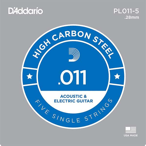 D'Addario .011 Single Guitar Strings for Acoustic or Electric