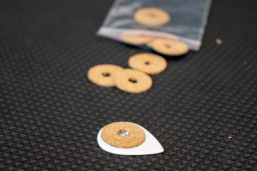Cork non-slip grips that you can stick onto your guitar picks