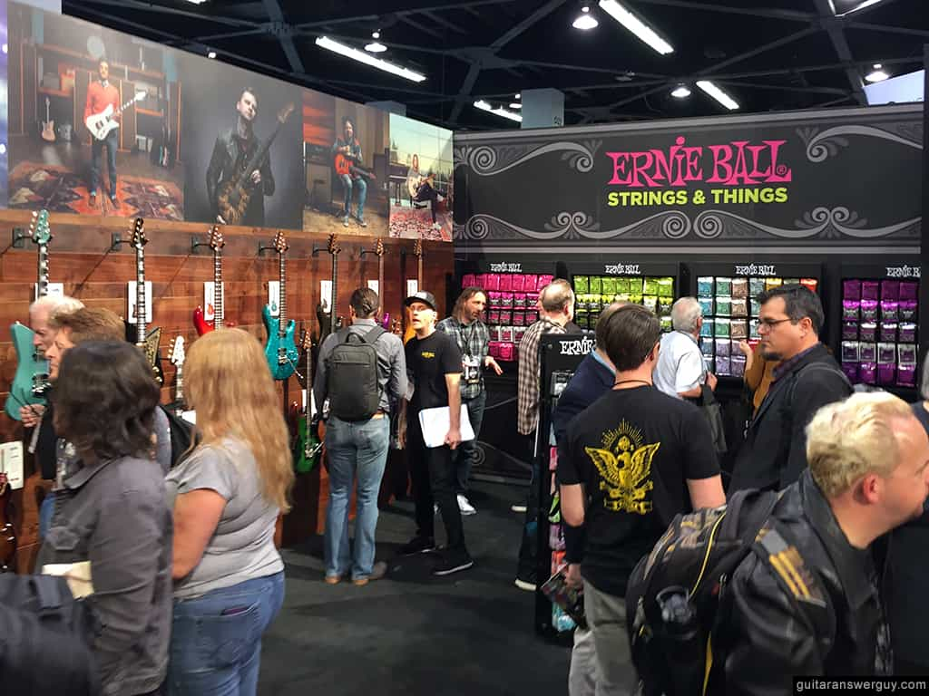 The Ernie Ball booth at NAMM 2020