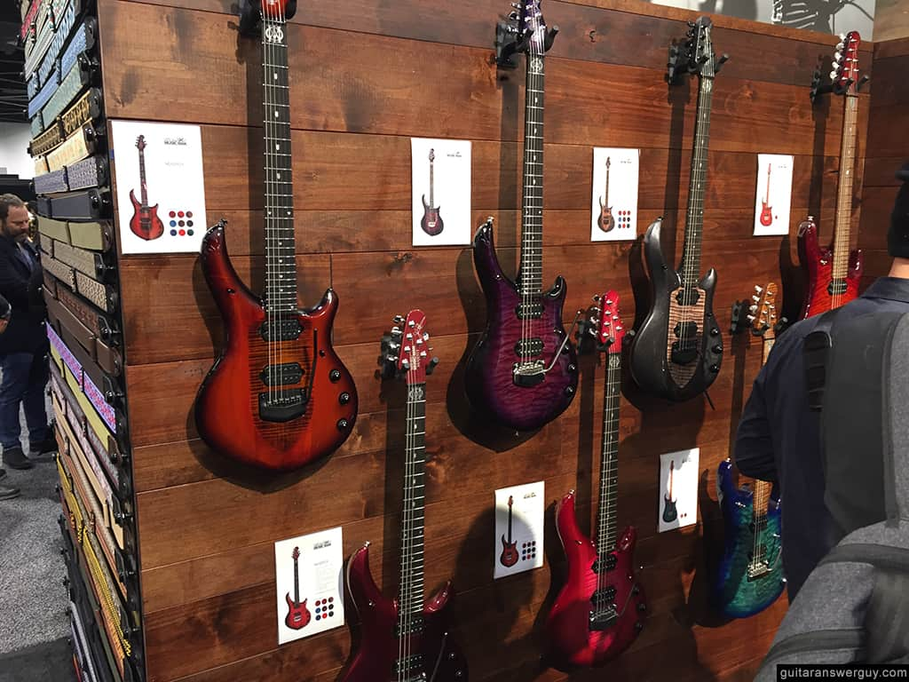 Ernie Ball Majesty guitars on display in the Ernie Ball booth at NAMM 2020