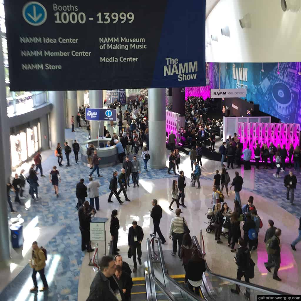 Photo of the convention center lobby at NAMM 2020
