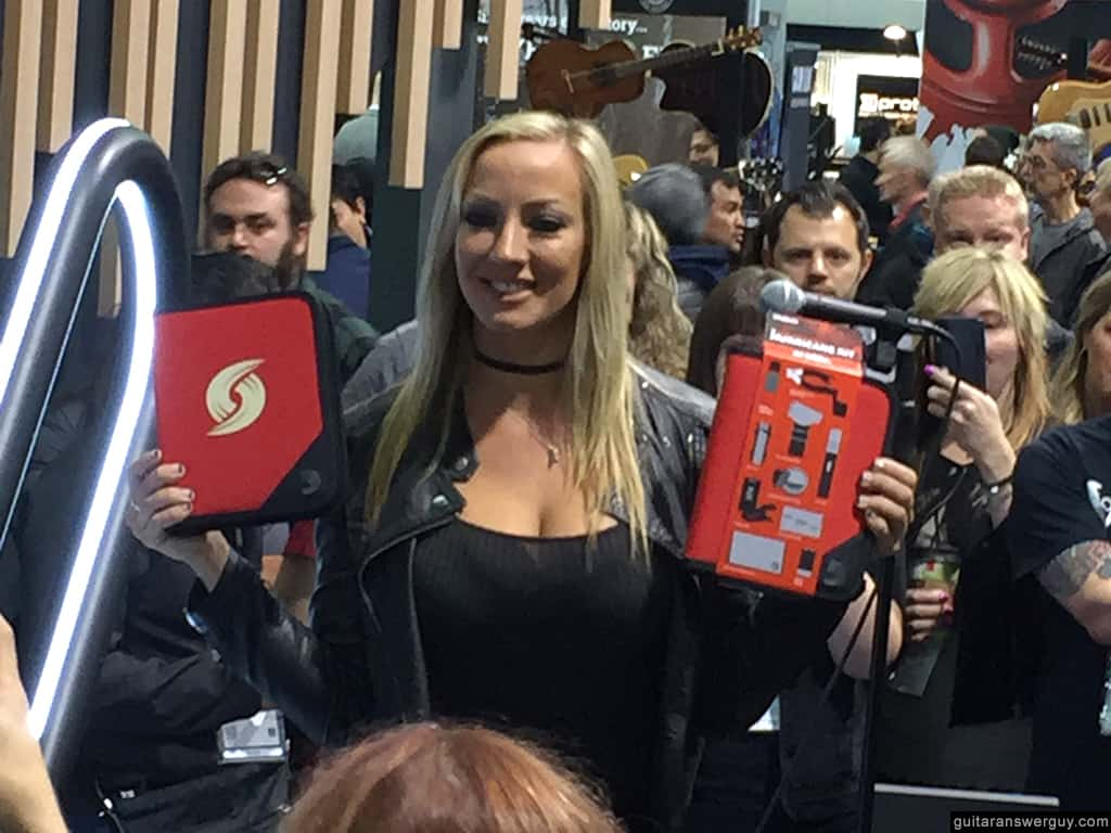 Nita Strauss at NAMM 2020 introducing her new signature Guitar First Aid kit