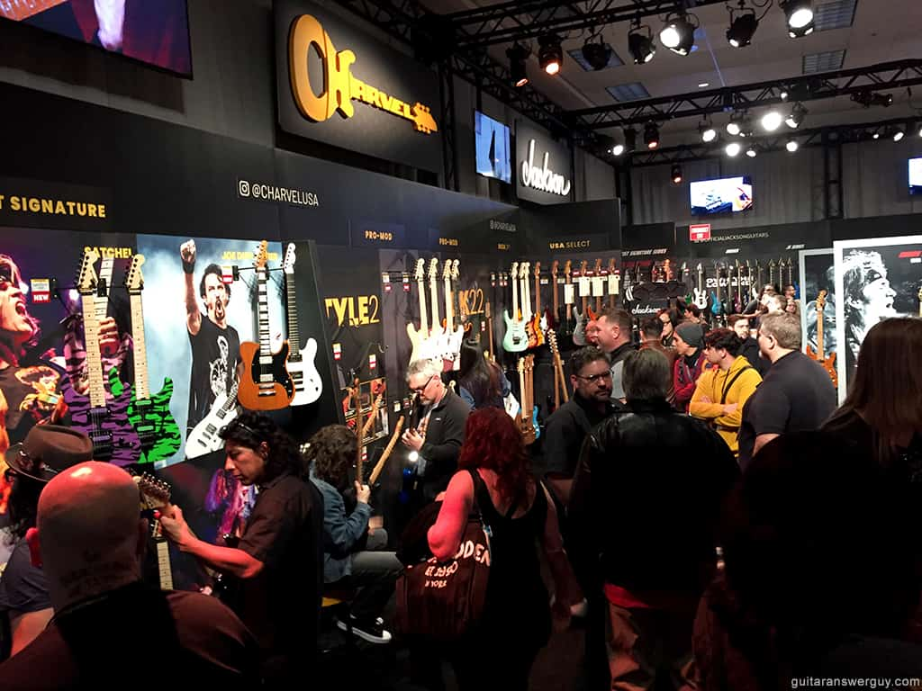 Photo showing just how crowded the rooms and booths can be at NAMM