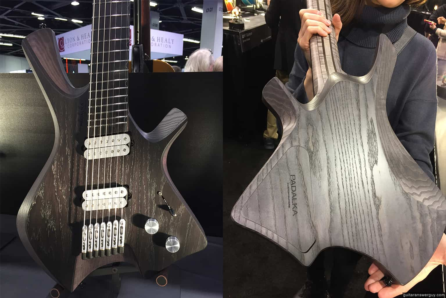 A Padalka guitar display in the Boutique Guitar Showcase at NAMM 2020