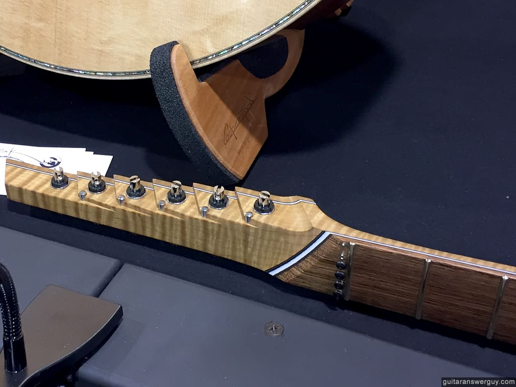 An odd & interesting headstock design at the Boutique Guitar Showcase at NAMM 2020