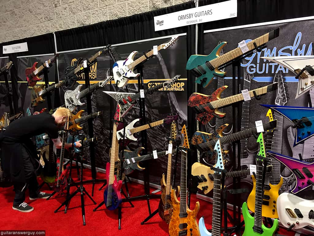 The Ormsby Guitars booth at NAMM 2020