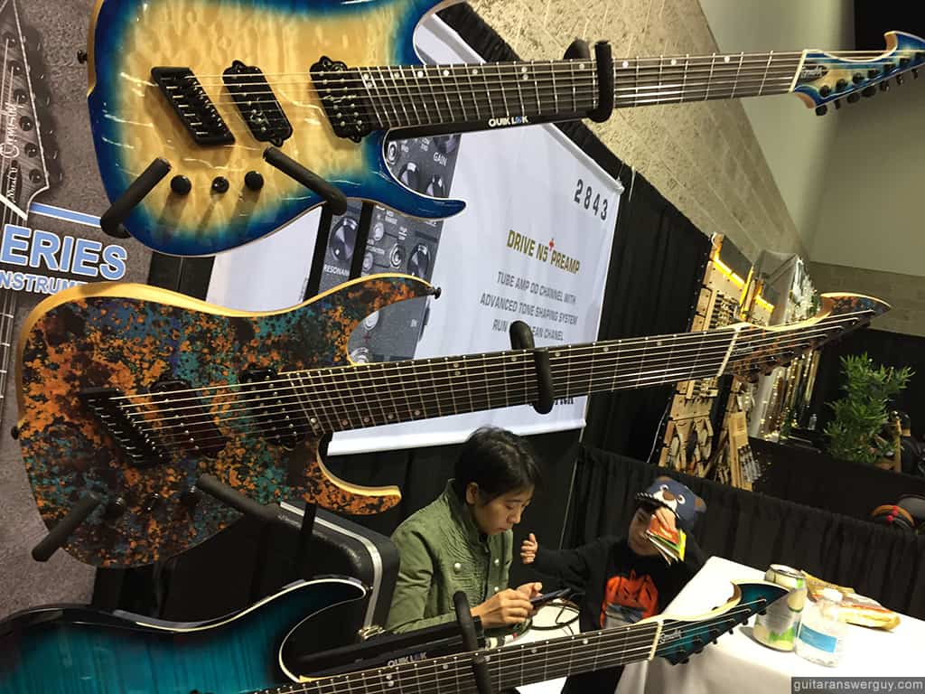 Closeup of some Ormsby guitars at NAMM 2020