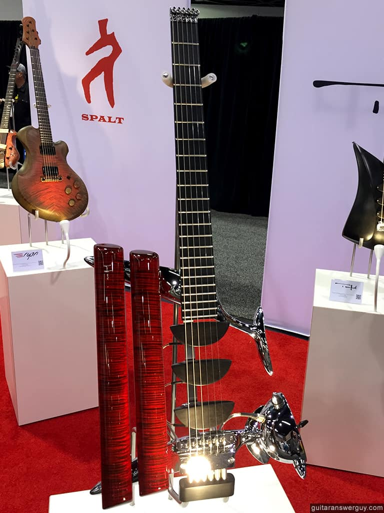 A Teuffel Birdfish guitar in the Boutique Guitar Showcase at NAMM 2020