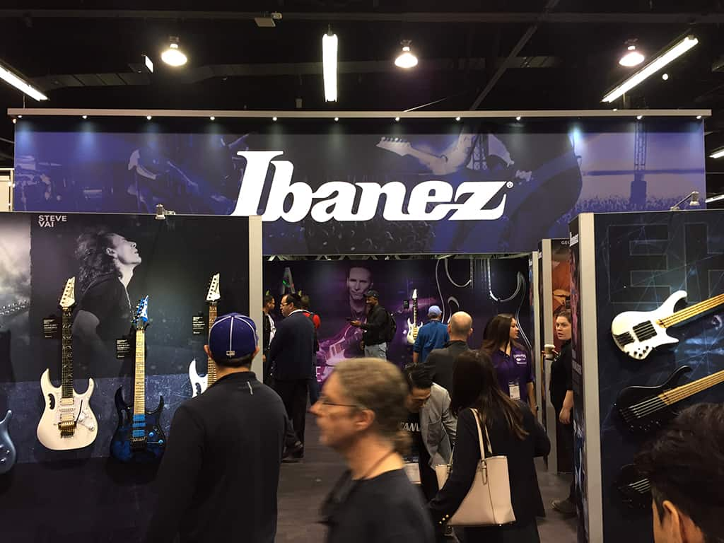 Ibanez Guitars & Basses booth at NAMM 2020