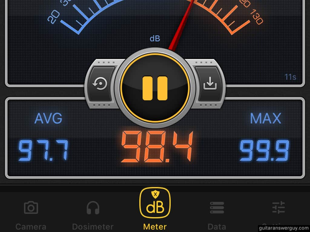 Decibel meter showing an ambient noise floor of 98.4 decibels at NAMM 2020